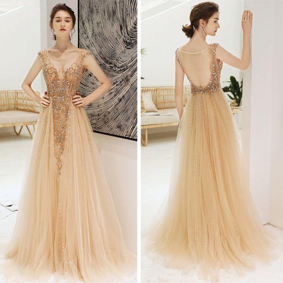 Sexy Champagne Deep V-Neck Evening Dresses  2020 A-Line / Princess See-through Sleeveless Rhinestone Beading Sweep Train Backless Ruffle Formal Dresses