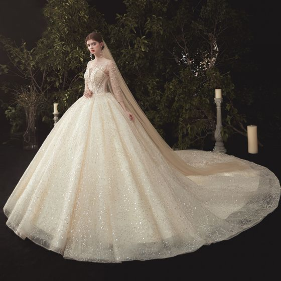Luxury / Gorgeous Champagne Wedding Dresses 2020 Ball Gown Scoop Neck Beading Sequins Lace Flower Appliques 3/4 Sleeve Backless Cathedral Train