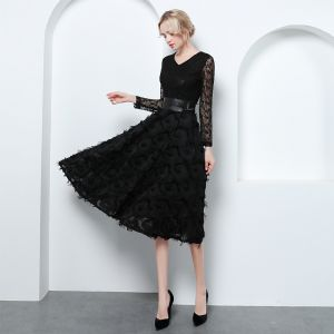 Elegant Black Evening Dresses  2019 A-Line / Princess V-Neck Lace Tassel Bow Long Sleeve Knee-Length Formal Dresses