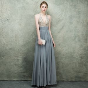 Luxury / Gorgeous Grey Evening Dresses  2018 A-Line / Princess Scoop Neck Sleeveless Beading Rhinestone Sash Floor-Length / Long Ruffle Backless Formal Dresses