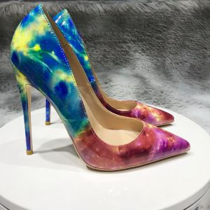 Fashion Starry Sky Multi-Colors Cocktail Party Pumps 2020 Patent Leather 12 cm Stiletto Heels Pointed Toe Pumps