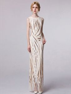 Elegant Sequin Evening Dress 2017 Long Sheath Formal Dress Sleeveless