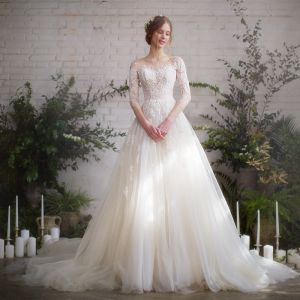Uroczy Szampan Z Koronki Przebili Suknie Ślubne 2019 Princessa Przezroczyste Wycięciem 1/2 Rękawy Bez Pleców Aplikacje Koronkowe Trenem Kaplica Wzburzyć
