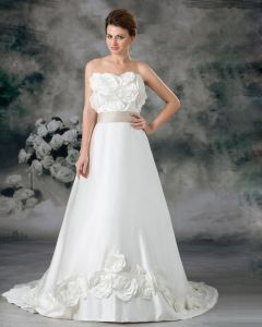Strapless Flower Floor Length Court Train Satin Empire Wedding Dress