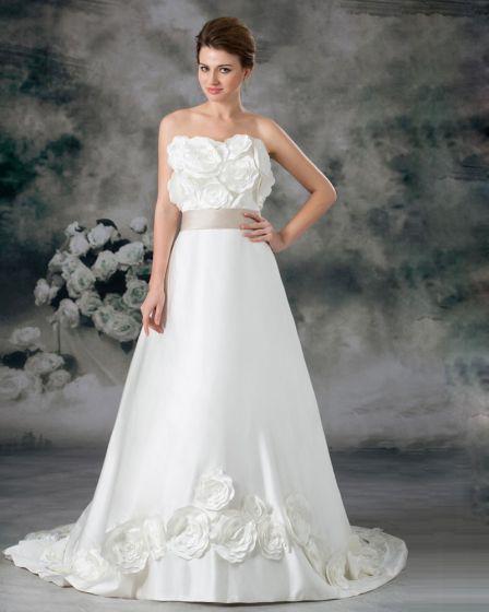 Strapless Flower Floor Length Court Train Satin Empire Wedding Dress