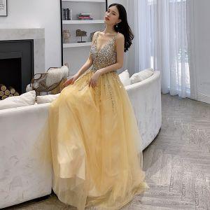 Sexy Gelb Abendkleider 2019 A Linie V-Ausschnitt Pailletten Ärmellos Rückenfreies Lange Festliche Kleider