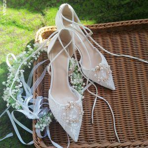 Stilig Elfenben Spets Blomma Brudskor 2020 Läder Pärla Rhinestone 6 cm Stilettklackar Spetsiga Bröllop Klackskor