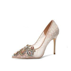 Mode Champagner Brautschuhe 2020 Spitze Strass 10 cm Stilettos Spitzschuh Hochzeit Pumps