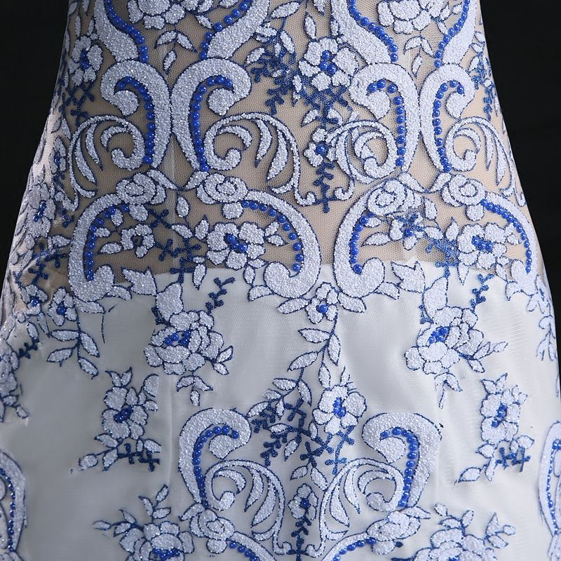 Chinese style Trumpet / Mermaid Evening Dresses  2017 Scoop Neck Embroidered Flower Lace White Tulle Formal Dresses Sweep Train