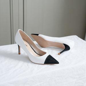 Modest / Simple Black Office Pumps 2018 Leather 8 cm Stiletto Heels Pointed Toe Pumps