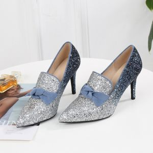 Sparkly Multi-Colors Silver Dating Pumps 2020 Bow Glitter Sequins 8 cm Stiletto Heels Pointed Toe Pumps