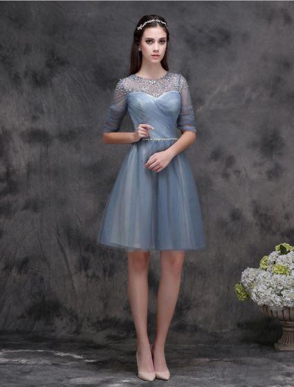 Elegant Scoop Hals Krusning Blekk Blå Cocktailkjole Med Perle