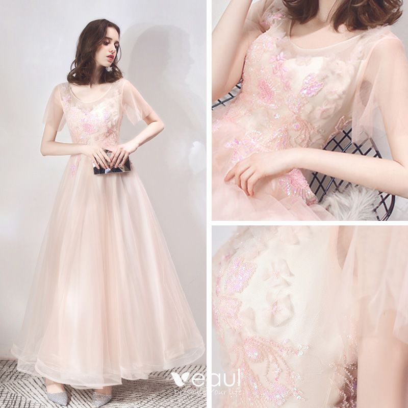 Classy Pearl Pink Evening Dresses  2019 A-Line / Princess Scoop Neck Short Sleeve Appliques Flower Sequins Beading Floor-Length / Long Ruffle Backless Formal Dresses