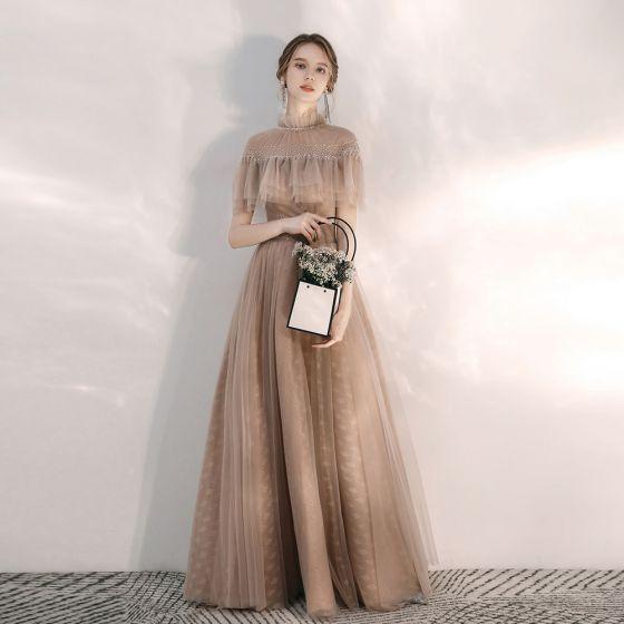 Vintage Champagne Aftonklänningar 2020 Prinsessa Hög Hals Korta ärm Beading Långa Ruffle Halterneck Formella Klänningar