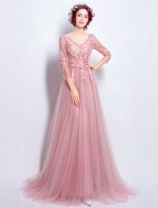 Belle Robe De Soirée En Tulle Rose À Manches Longues
