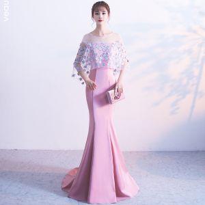 Schöne Rosa Abendkleider 2017 Mermaid U-Ausschnitt Charmeuse Applikationen Rückenfreies Abend Festliche Kleider