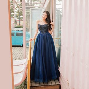 Classy Navy Blue Prom Dresses 2019 Princess Amazing / Unique Strapless Sleeveless Beading Floor-Length / Long Ruffle Backless Formal Dresses