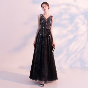 Chic / Beautiful Black Prom Dresses 2018 A-Line / Princess V-Neck Sleeveless Appliques Flower Beading Ankle Length Ruffle Backless Formal Dresses