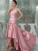 2015 Vintage A-line Spaghetti Straps Pleated Asymmetrical Prom Dress