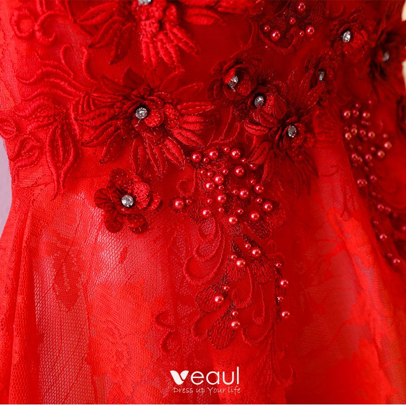 Chic / Beautiful Red Formal Dresses Evening Dresses  2017 Lace Flower Pearl Sleeveless A-Line / Princess Short Scoop Neck