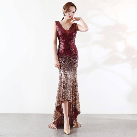 Sparkly Burgundy Gold Evening Dresses  2019 Trumpet / Mermaid V-Neck Sequins Sleeveless Backless Asymmetrical Formal Dresses