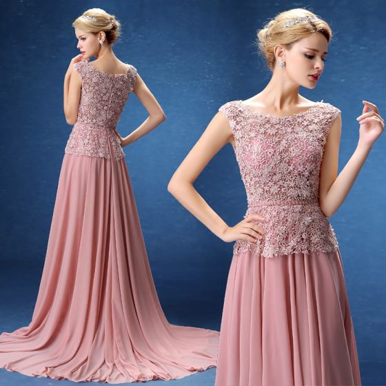 Chic / Beautiful Evening Dresses  2017 Candy Pink A-Line / Princess Sweep Train Scoop Neck Sleeveless Pierced Lace Appliques Beading Pearl Sequins Crystal Sash Formal Dresses