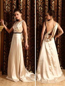 2015 Mode A-linie Schultern Schärpe Bodenlangen Abendkleid
