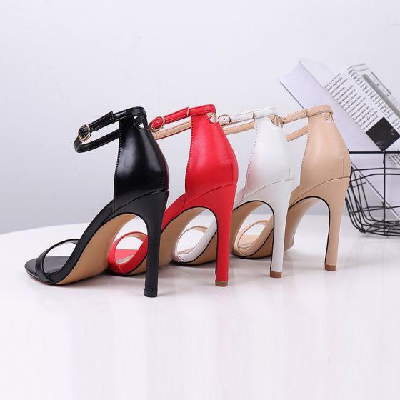 Eenvoudige Zwarte Toevallig Sandalen Dames 2020 Enkelband 10 cm Naaldhakken / Stiletto Peep Toe Hoge Hakken