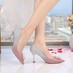Moderne / Mode Dégradé De Couleur Chaussure De Mariée 2019 8 cm Cocktail Soirée Polyester Perlage Perle Faux Diamant Talons Aiguilles Chaussures Femmes