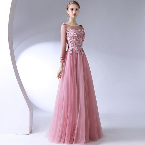 Classic Elegant Blushing Pink Evening Dresses  2017 A-Line / Princess U-Neck Lace Beading Backless Appliques Evening Party Formal Dresses