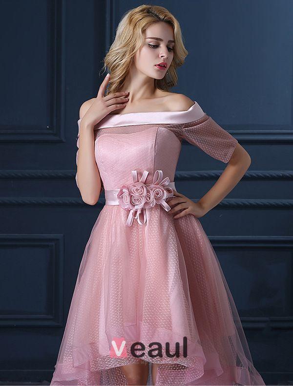 Nouvelle Mode Perles Robe De Cocktail Rose Tulle Carré Robe Décolleté De Bal Avec Des Fleurs