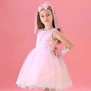 Pink Flower Girl Princess Dress Long-sleeved Dress