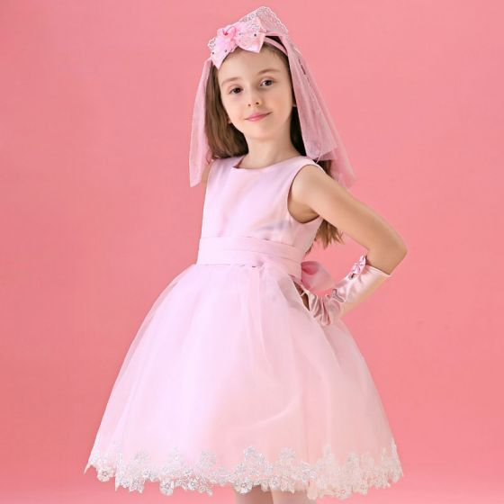 Pink Flower Girl Princess Dress Long-sleeved Dress