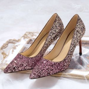 Glitzernden Rose Gold Abend Pailletten Pumps 2020 Leder 8 cm Stilettos Spitzschuh Pumps