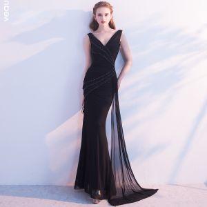 Schöne 2017 Schwarz Abendkleider V-Ausschnitt Rückenfreies Handgefertigt Mermaid Heimkehr Abend Festliche Kleider