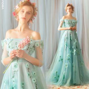 Fée Des Fleurs Vert Robe De Soirée 2019 Princesse De l'épaule 3/4 Manches Appliques Fleur Perlage Train De Balayage Volants Dos Nu Robe De Ceremonie