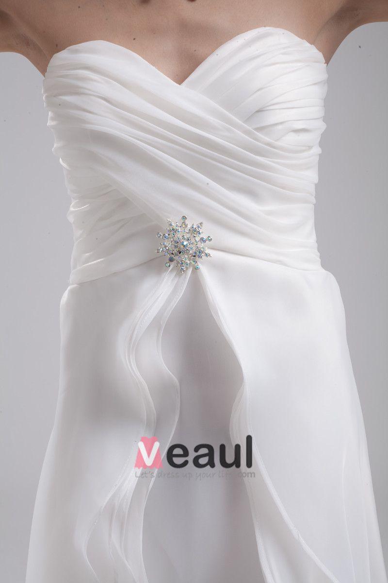 Fashion Organza Charmeuse Pleated Sweetheart Court Train Floor Length Empire Wedding Dress