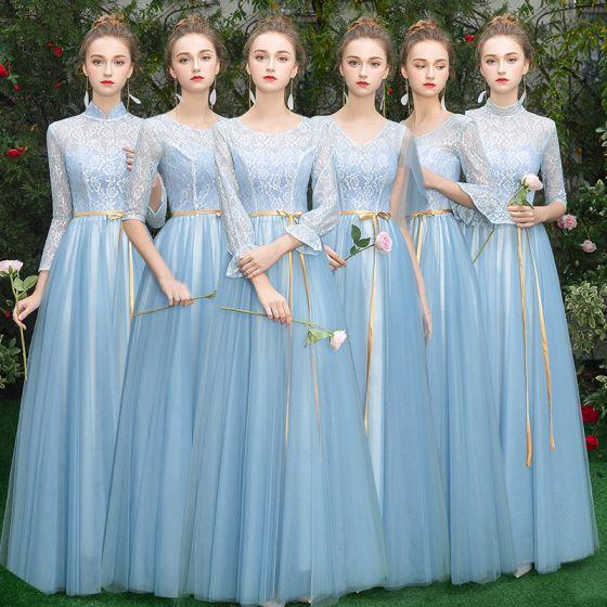 Niedrogie Niebieskie Sukienki Dla Druhen 2019 Princessa Szarfa Długie Wzburzyć Bez Pleców Sukienki Na Wesele