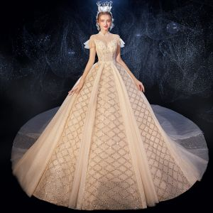 Vintage / Retro Champagne See-through Wedding Dresses 2020 Ball Gown High Neck Short Sleeve Backless Sequins Beading Glitter Tulle Ruffle Cathedral Train