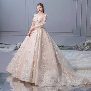 Elegant Champagne Wedding Dresses 2019 A-Line / Princess Scoop Neck Pearl Appliques Lace Flower Long Sleeve Backless Royal Train