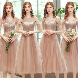 Affordable Champagne Bridesmaid Dresses 2020 A-Line / Princess Backless Appliques Lace Sash Tea-length Ruffle