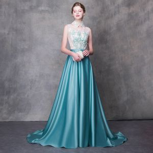 Modern / Fashion Jade Green Evening Dresses  2018 A-Line / Princess Detachable High Neck Sleeveless Appliques Flower Pearl Feather Sweep Train Ruffle Backless Formal Dresses