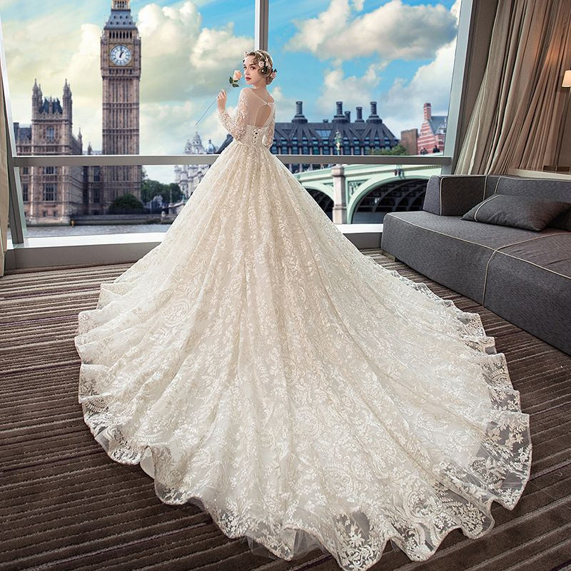 Luxury / Gorgeous Beige Wedding Dresses 2019 A-Line / Princess Scoop Neck Beading Pearl Sequins Lace Flower Long Sleeve Backless Royal Train