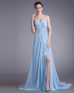 Chiffon Ruffle Beading Sweetheart Court Train Slit Pleated Prom Dress