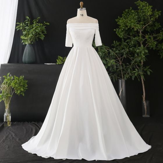 Classic Elegant White Plus Size Wedding Dresses 2020 A-Line / Princess Off-The-Shoulder Crossed Straps Short Sleeve Satin Solid Color Cathedral Train Wedding