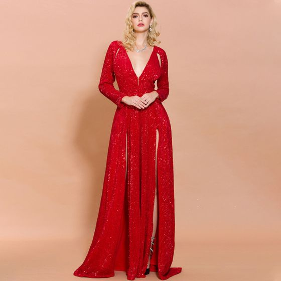 Seksowne Czerwone Cekiny Sukienki Wieczorowe 2020 Princessa Głęboki V-Szyja Bez Rękawów Podział Przodu Trenem Sweep Wzburzyć Sukienki Wizytowe