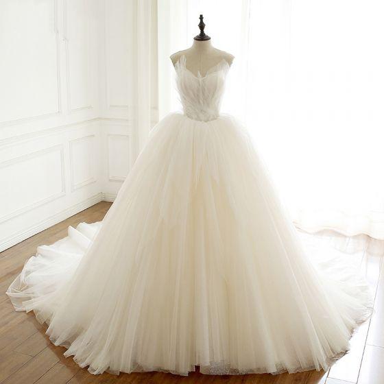 Luxus / Herrlich Einfarbig Ivory / Creme Brautkleider / Hochzeitskleider 2020 A Linie Rüschen Bandeau Ärmellos Rückenfreies Kathedrale Schleppe