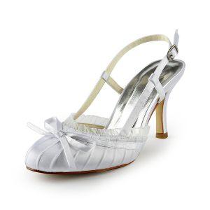 Klasyczne Białe Buty Ślubne Szpilki Szpilki Pantofle Sandały