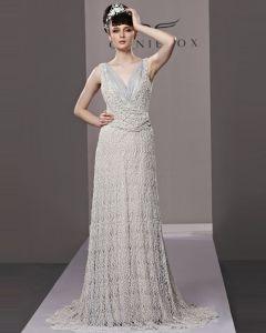 V Neck Floor Length Beading Tulle Woman Evening Dress