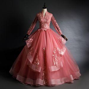 Chic / Belle Rose Bonbon Quinceañera Robe De Bal 2020 Robe Boule V-Cou Perlage Paillettes En Dentelle Fleur Manches Longues Dos Nu Longue Robe De Ceremonie